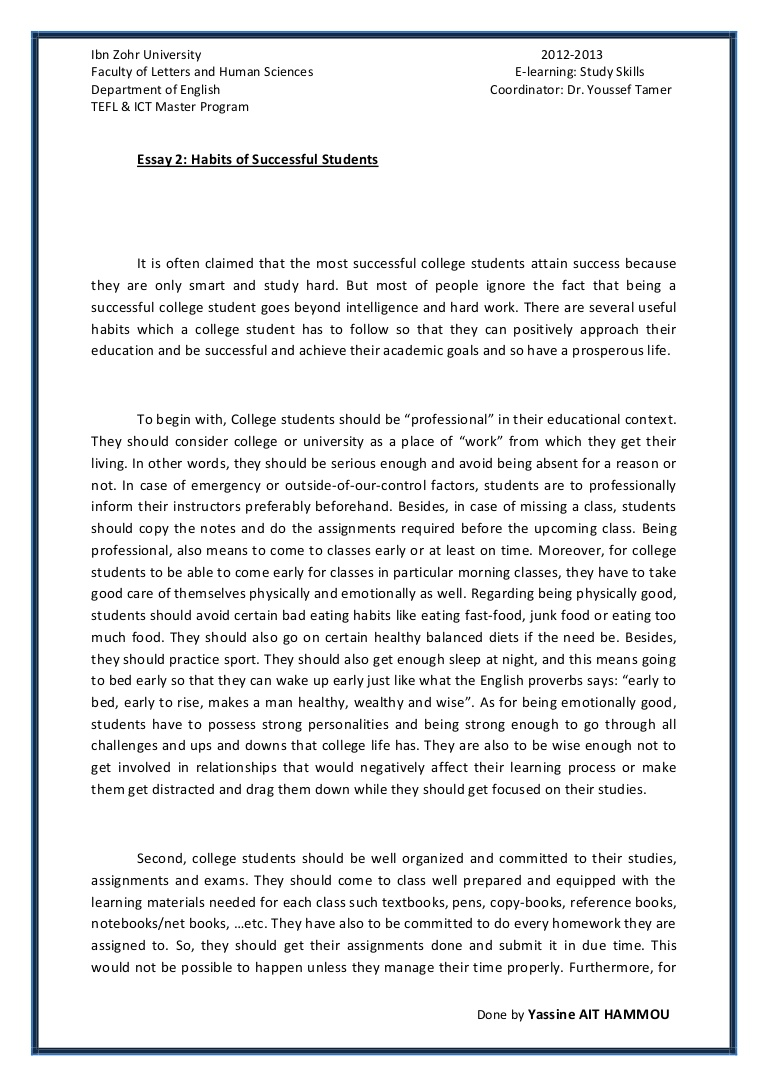 006 Essay2 Succesfulcollegestudentshabitsbyyassineaithammou Phpapp01 Thumbnail 4cbu003d1366110001 Cover Page For Research Paper Awful Harvard Full
