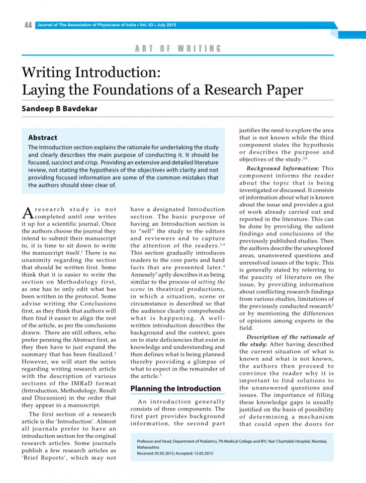 006 Example Of An Introduction For Research Paper Excellent A Psychology Examples Writing How To Write In Pdf 728