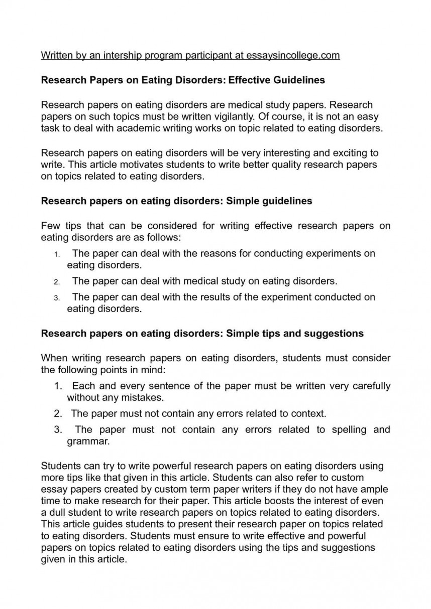 006 Examples Of Research Papers On Eating Disorders Paper Frightening