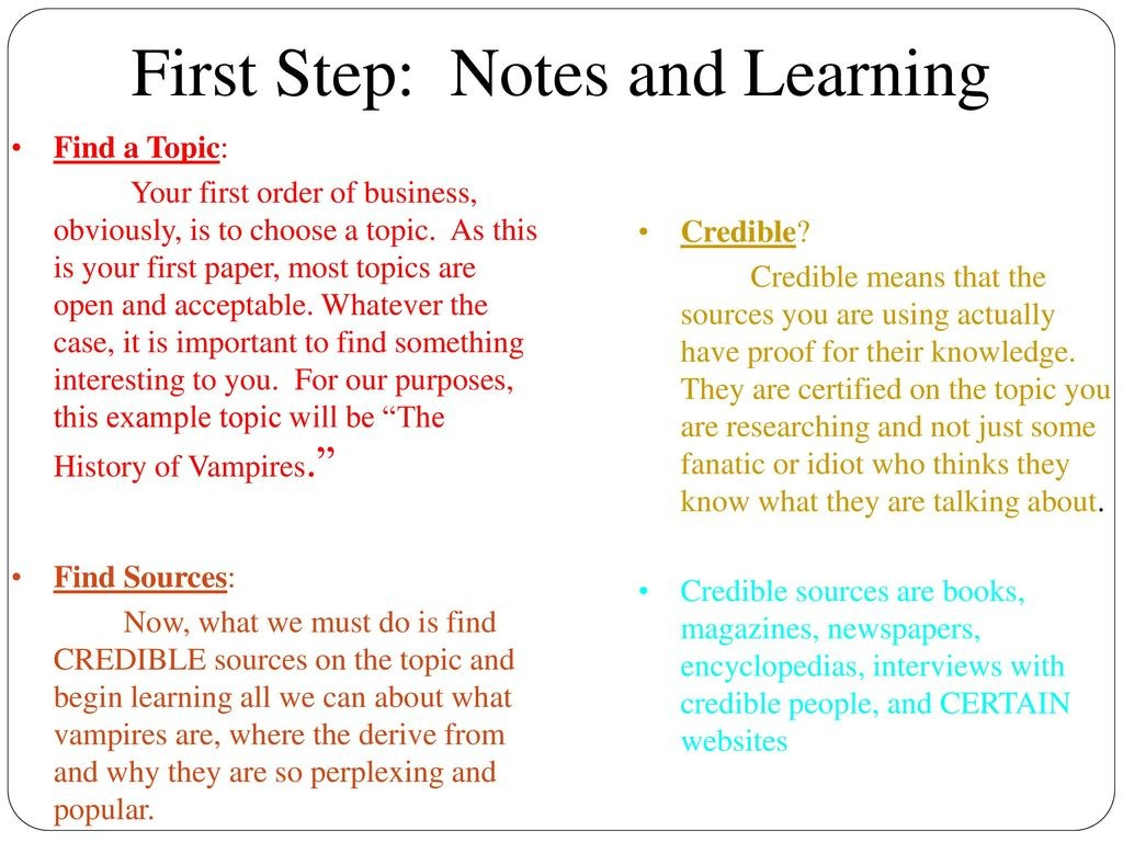 006 Firststep3anotesandlearning Research Paper How To Do Unusual Presentation Start An Oral On A Make Ppt For Large