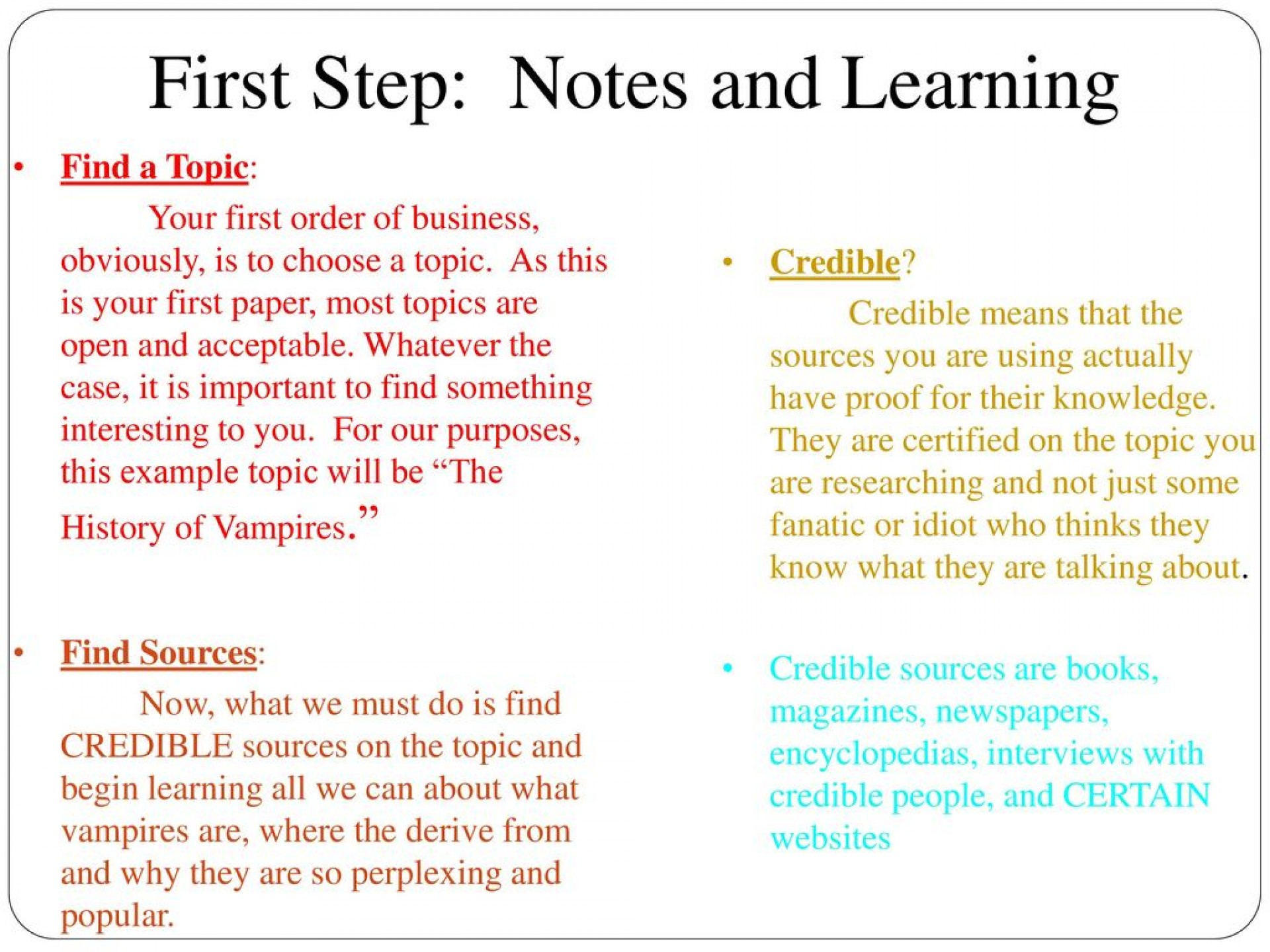 006 Firststep3anotesandlearning Research Paper How To Do Unusual Presentation Start An Oral On A Make Ppt For 1920