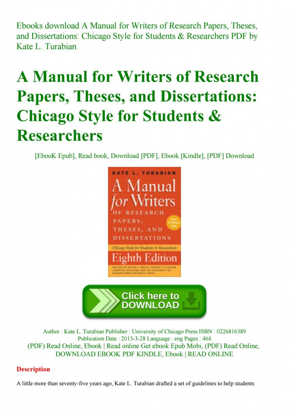 006 Manual For Writers Of Researchs Theses And Dissertations Turabian Page 1 Amazing A Research Papers Pdf 960