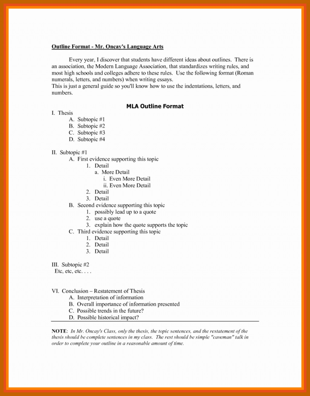 006 Mla Style Research Paper Format Best Of Outline In How To Fantastic A Large