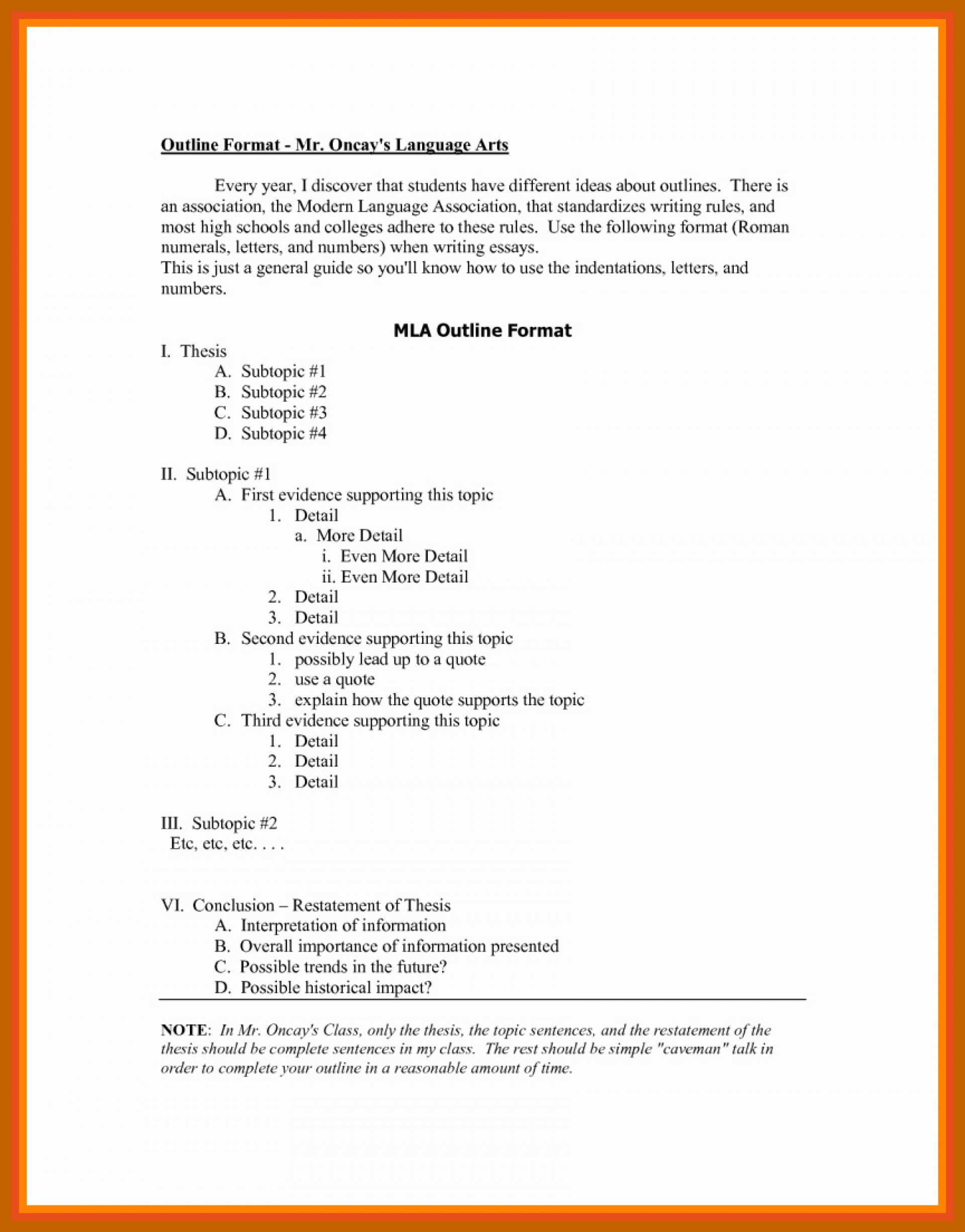 006 Mla Style Research Paper Format Best Of Outline In How To Fantastic A 1920