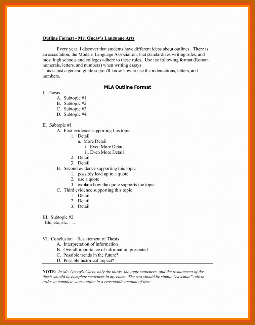 006 Mla Style Research Paper Format Best Of Outline In How To Fantastic A