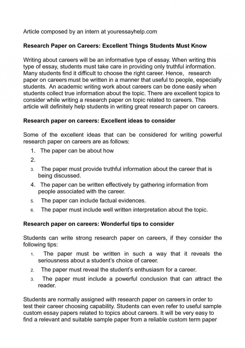006 P1 Research Paper On Breathtaking Careers Thesis Statement For A Topics Large
