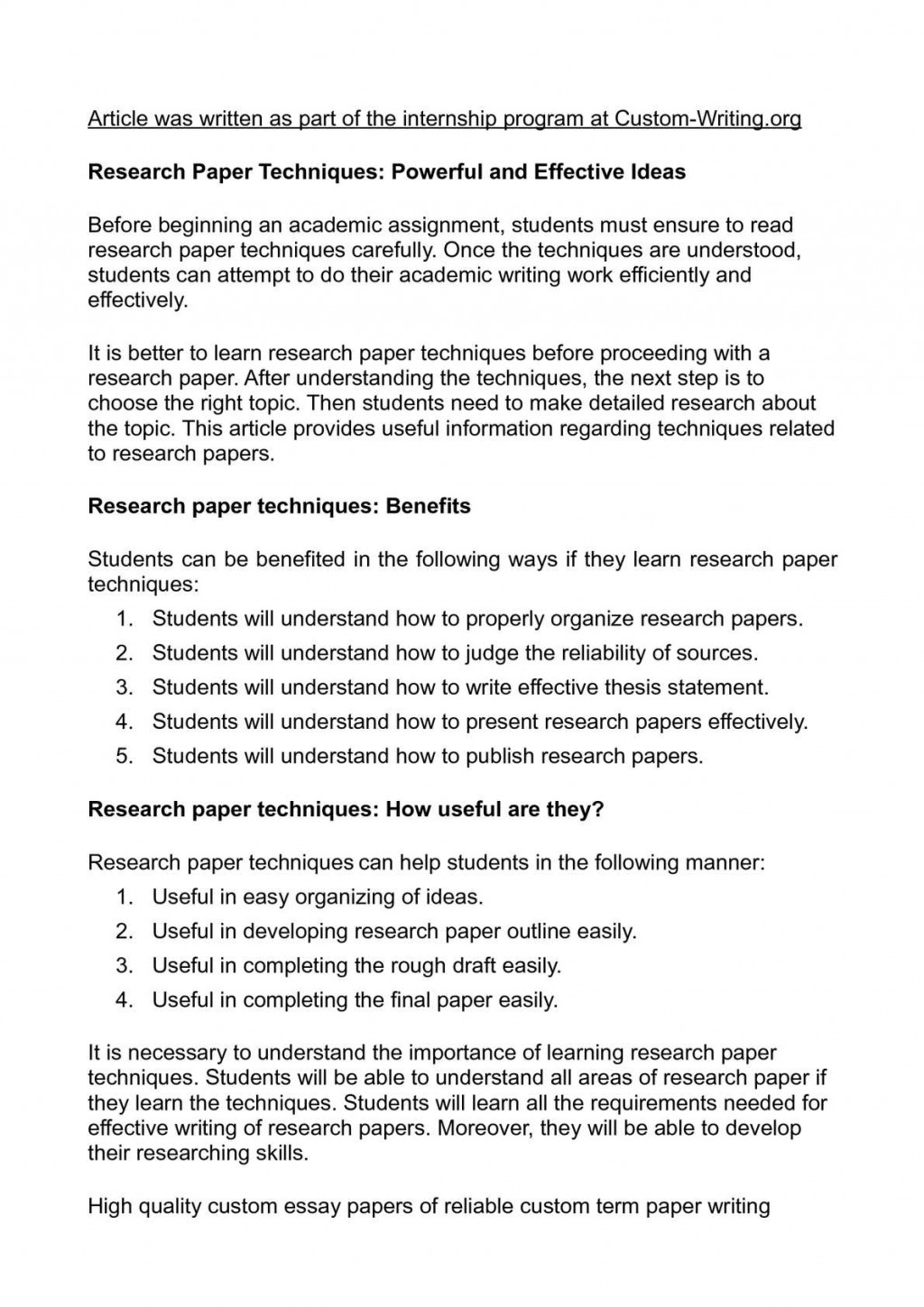 006 P1 Research Paper Organizing Unforgettable A Outline Information In An For Large
