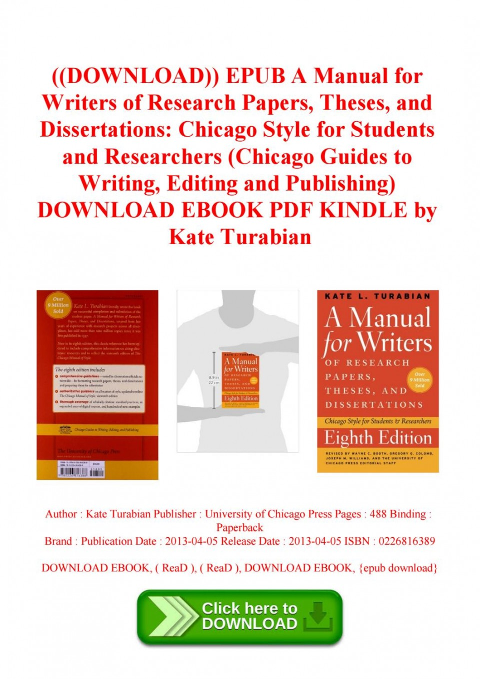 006 Page 1 Research Paper Manual For Writers Of Papers Theses And Sensational A Dissertations Ed. 8 8th Edition Ninth Pdf 960