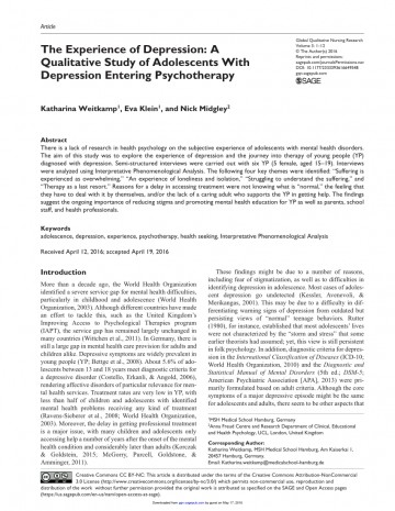 006 Psychology Research Articles On Depression Paper Excellent 360