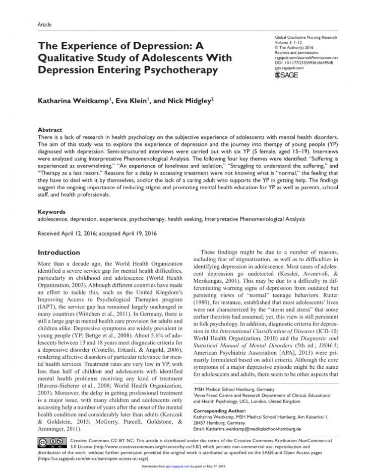 006 Psychology Research Articles On Depression Paper Excellent 728