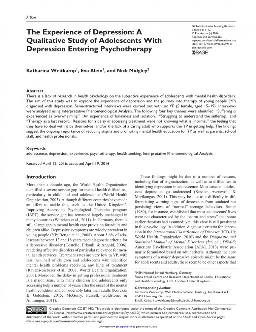 006 Psychology Research Articles On Depression Paper Excellent 868