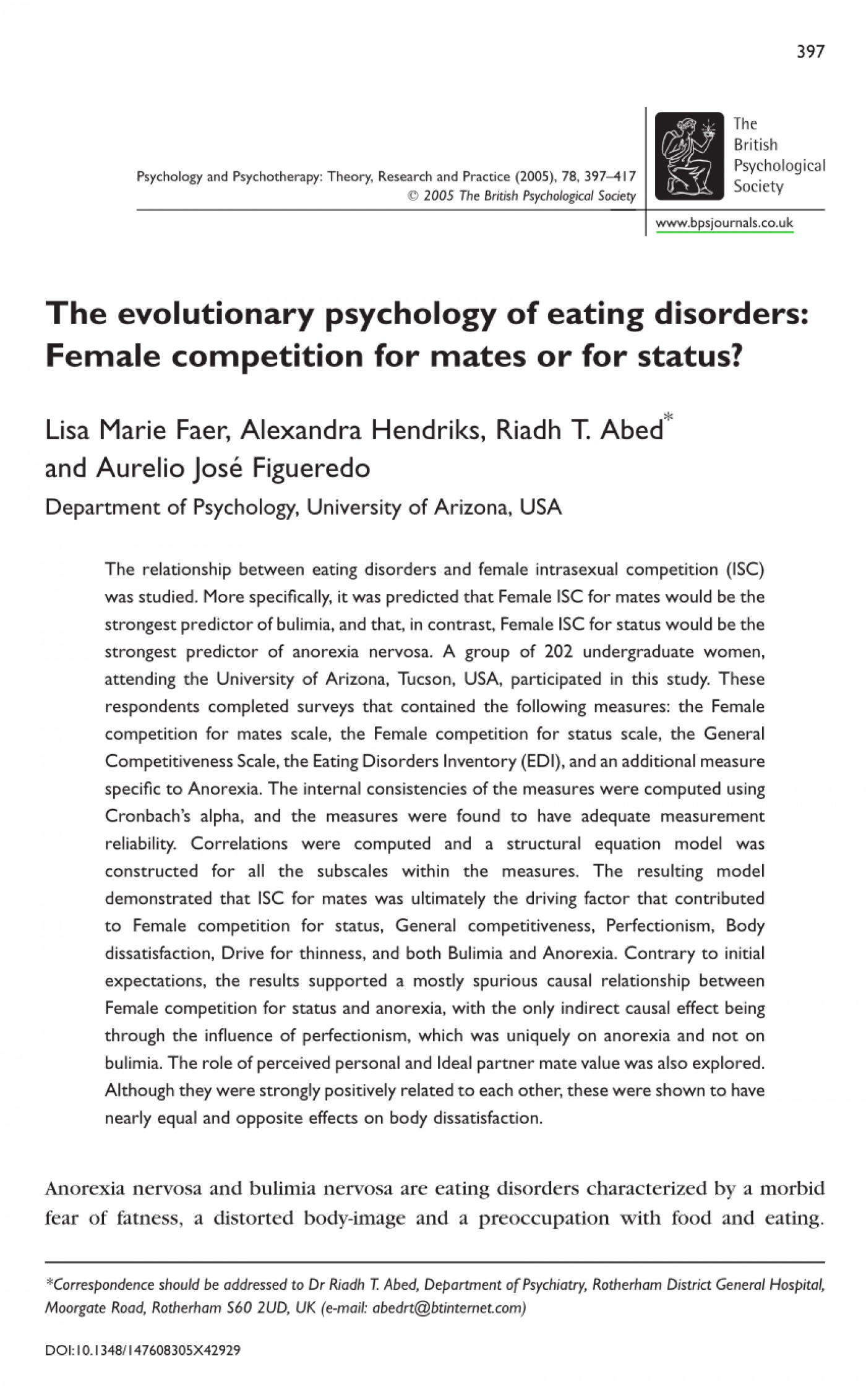 006 Psychology Research Paper On Eating Disorders Top Study Topics Essay 1400