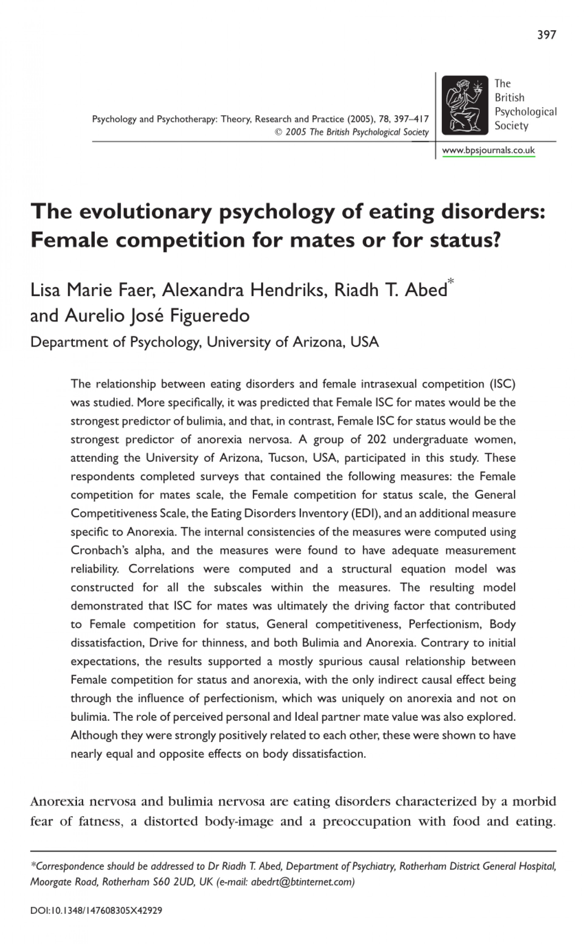 006 Psychology Research Paper On Eating Disorders Top Topics 1920