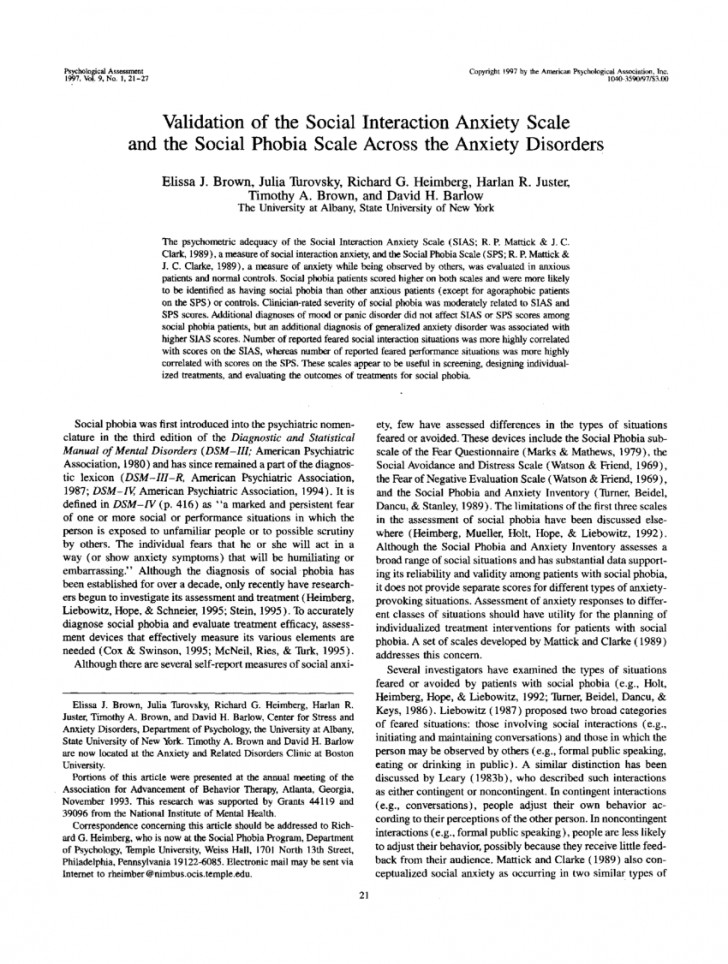 006 Psychology Research Paper On Social Anxiety Disorder Staggering 728