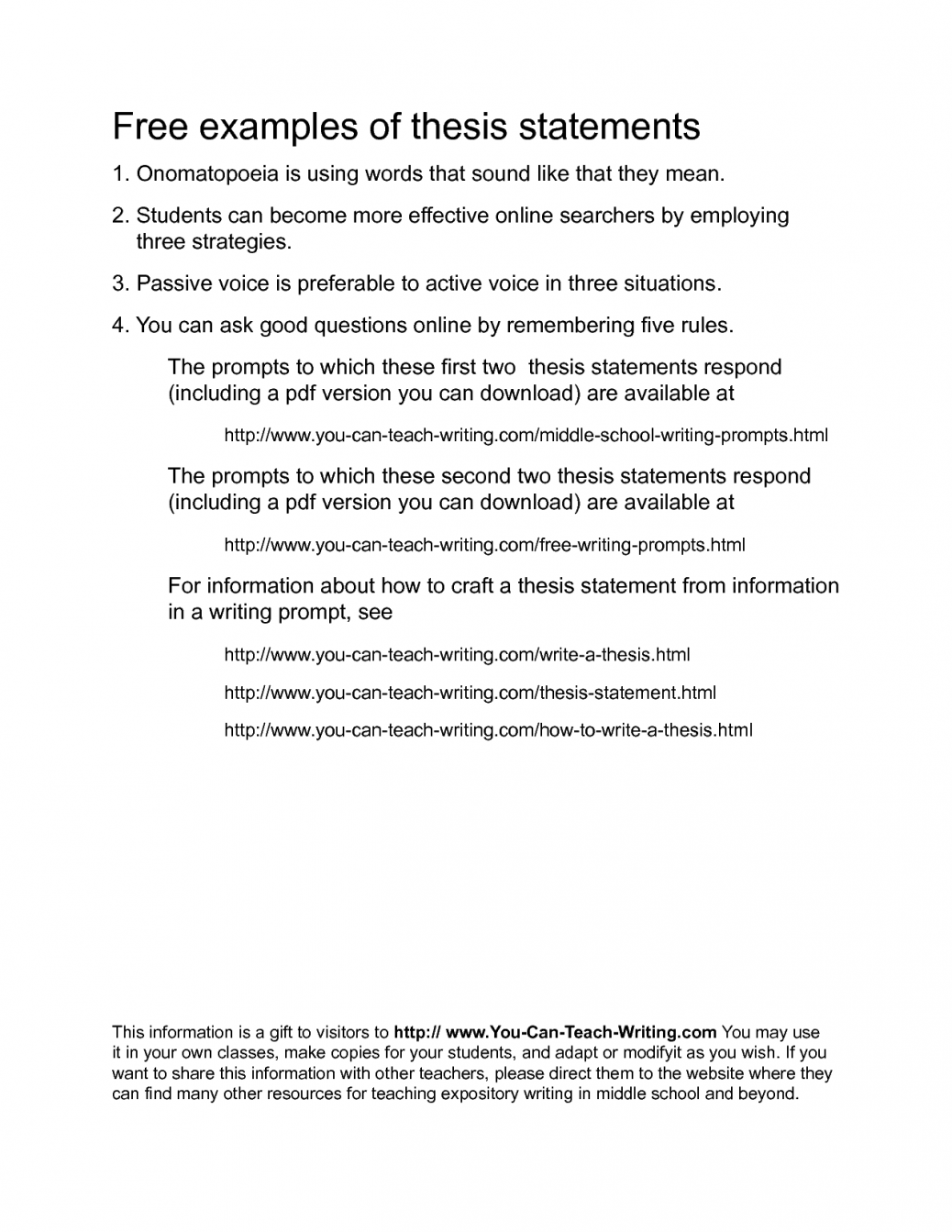 Practice writing thesis statements answers