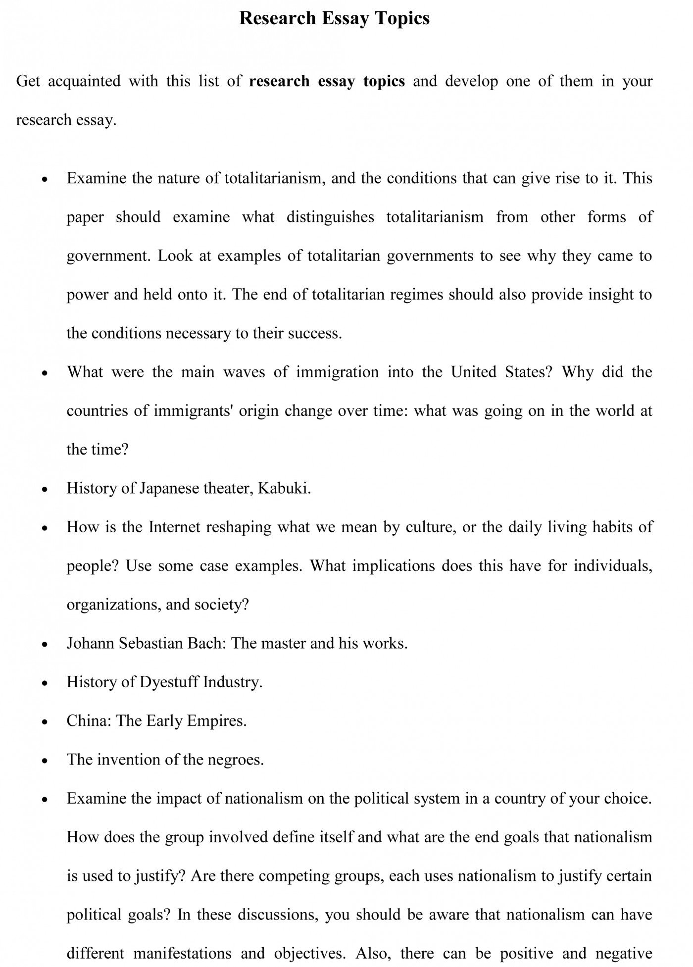 006 Research Essay Topics Sample Good Shocking Paper Reddit Us History For High School 1400