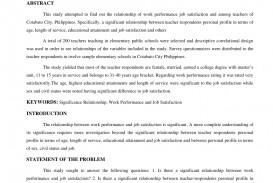 006 Research Paper Abstract For On Job Satisfaction Awesome