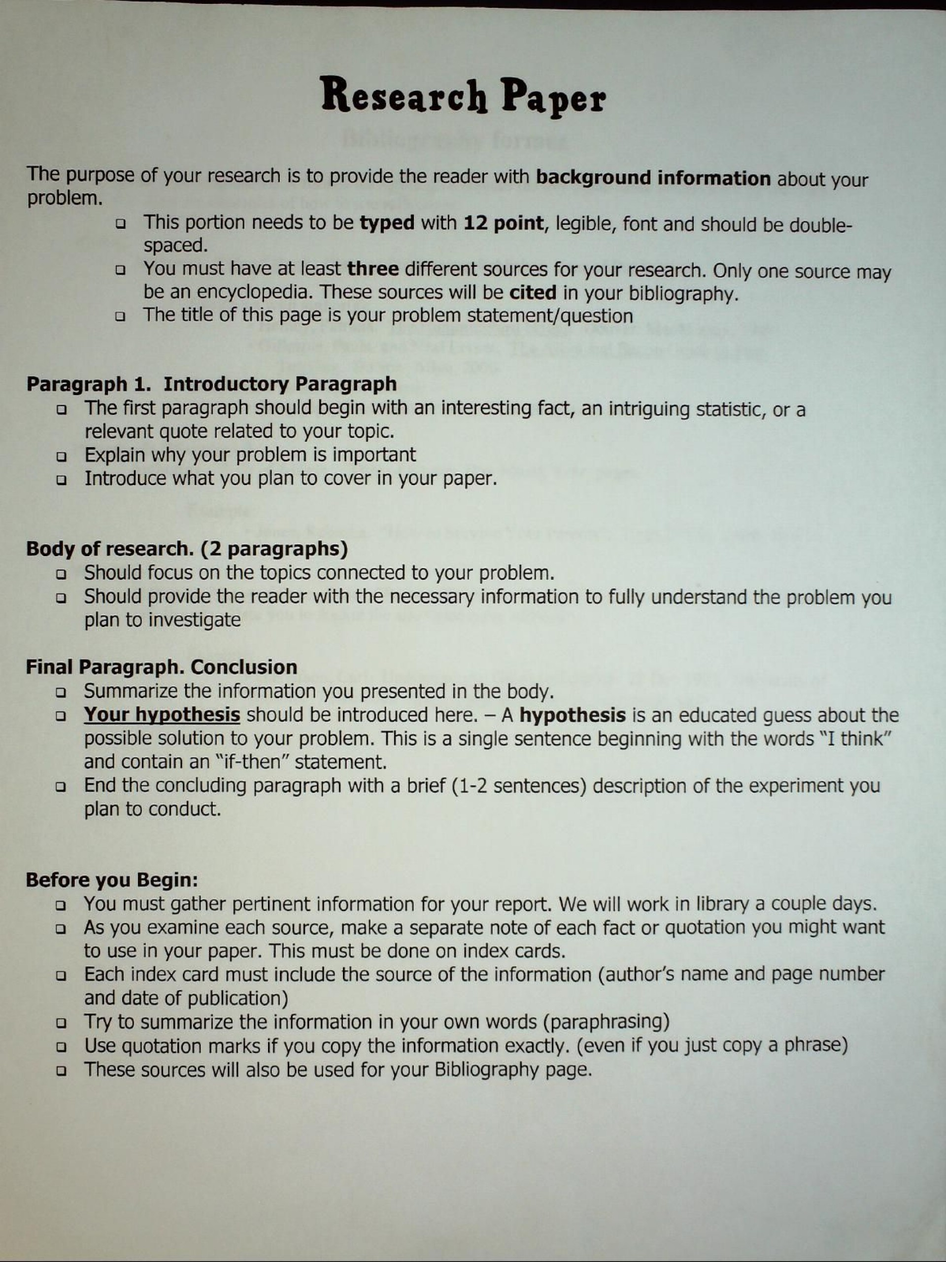 006 Research Paper Example Of Science Fair Outline Amazing A 1920