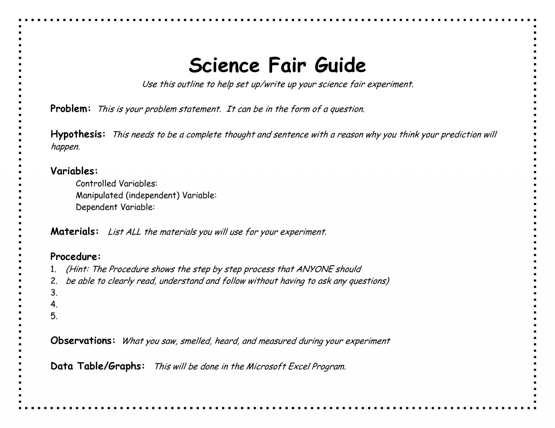 science fair research paper example for sixth grade