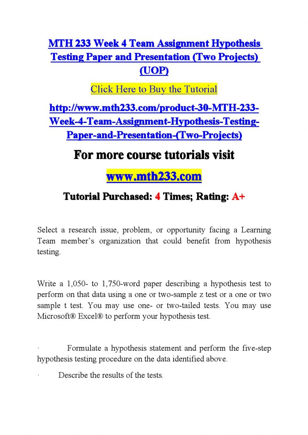006 Research Paper Hypothesis Testing In Page 1 Awesome Pdf Large