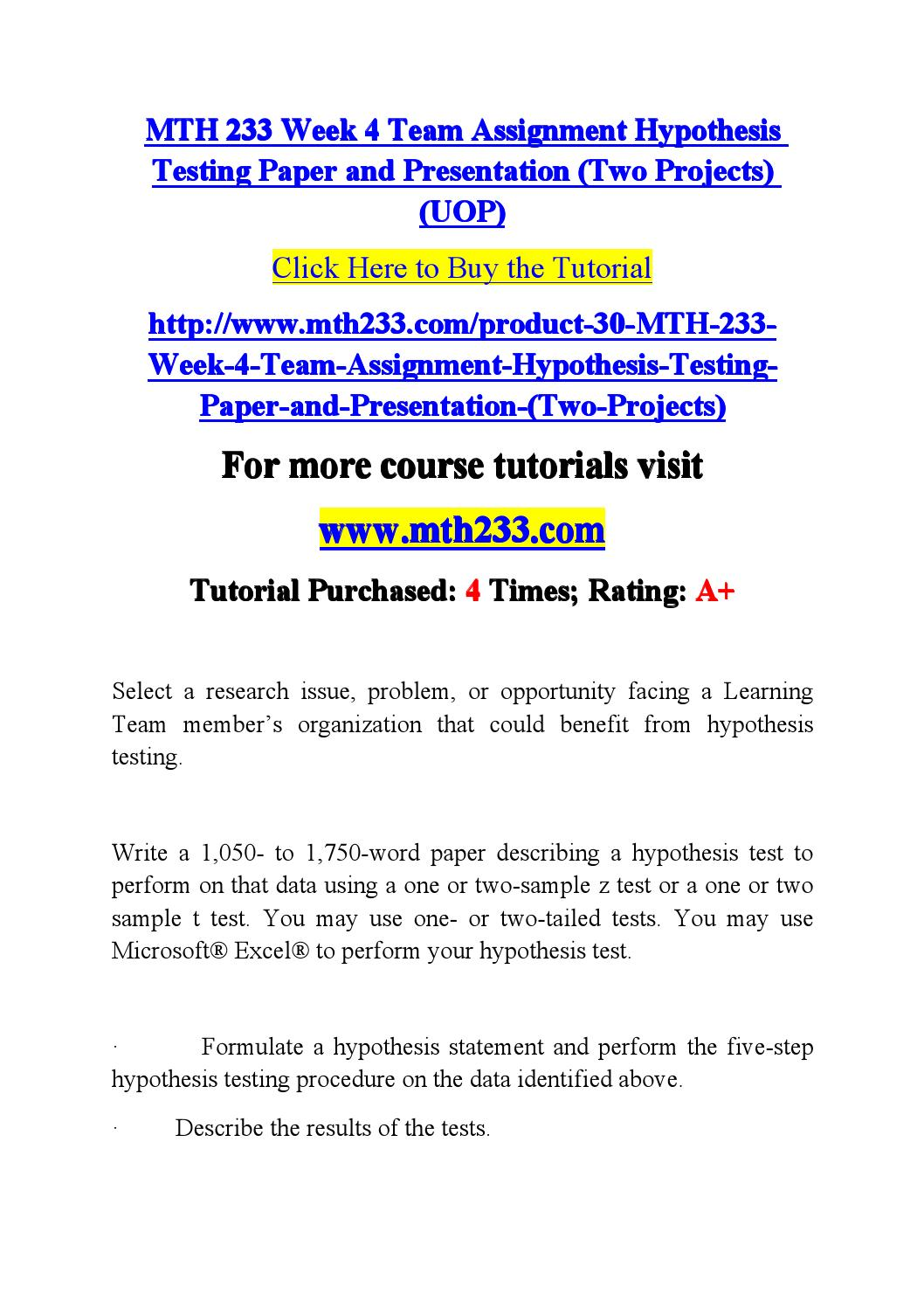 006 Research Paper Hypothesis Testing In Page 1 Awesome Pdf Full