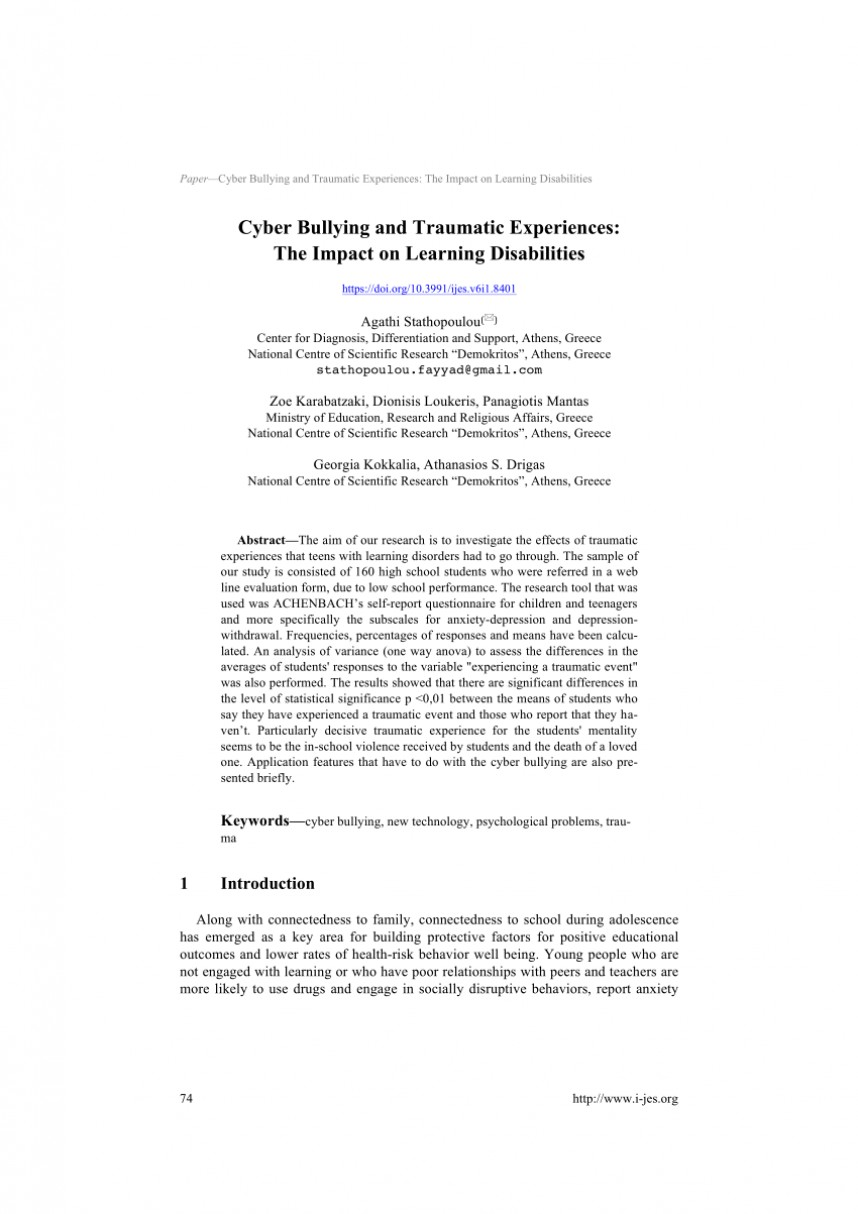 006 Research Paper Largepreview Psychological Effects Of Breathtaking Bullying 868