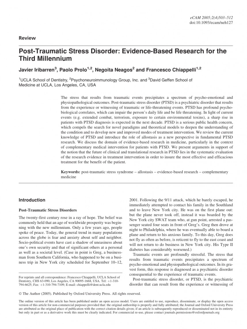 006 Research Paper Latest On Post Traumatic Stress Disorder Magnificent Topics Information