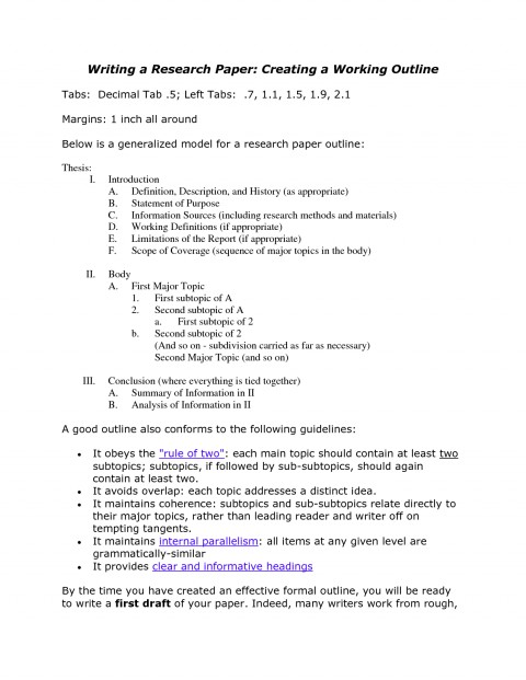 006 Working Outline For Research Paper Example 477670 Top Formal How To Write A Template 480