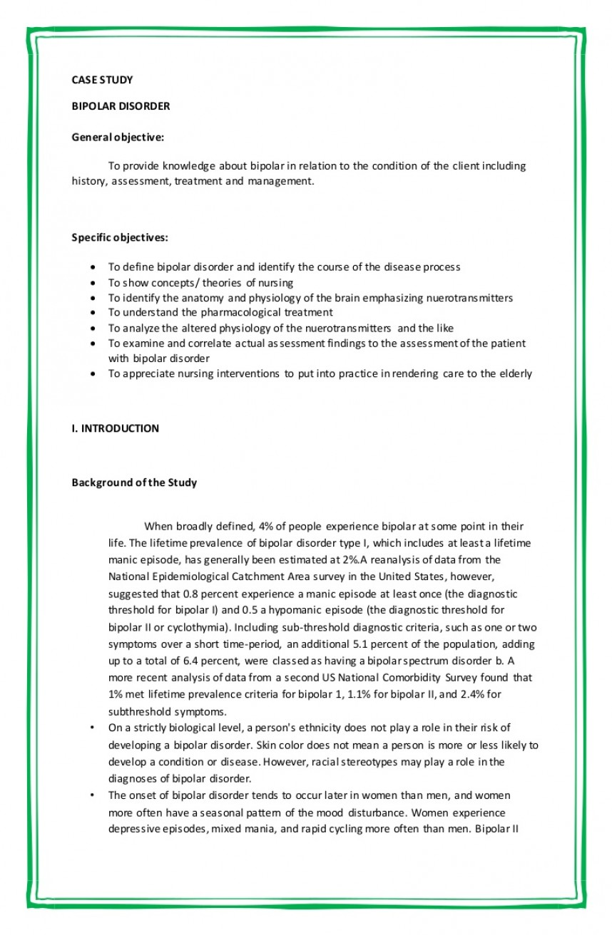 007 Case Studies Involving Bipolar Disorder College Essay On Research Impressive