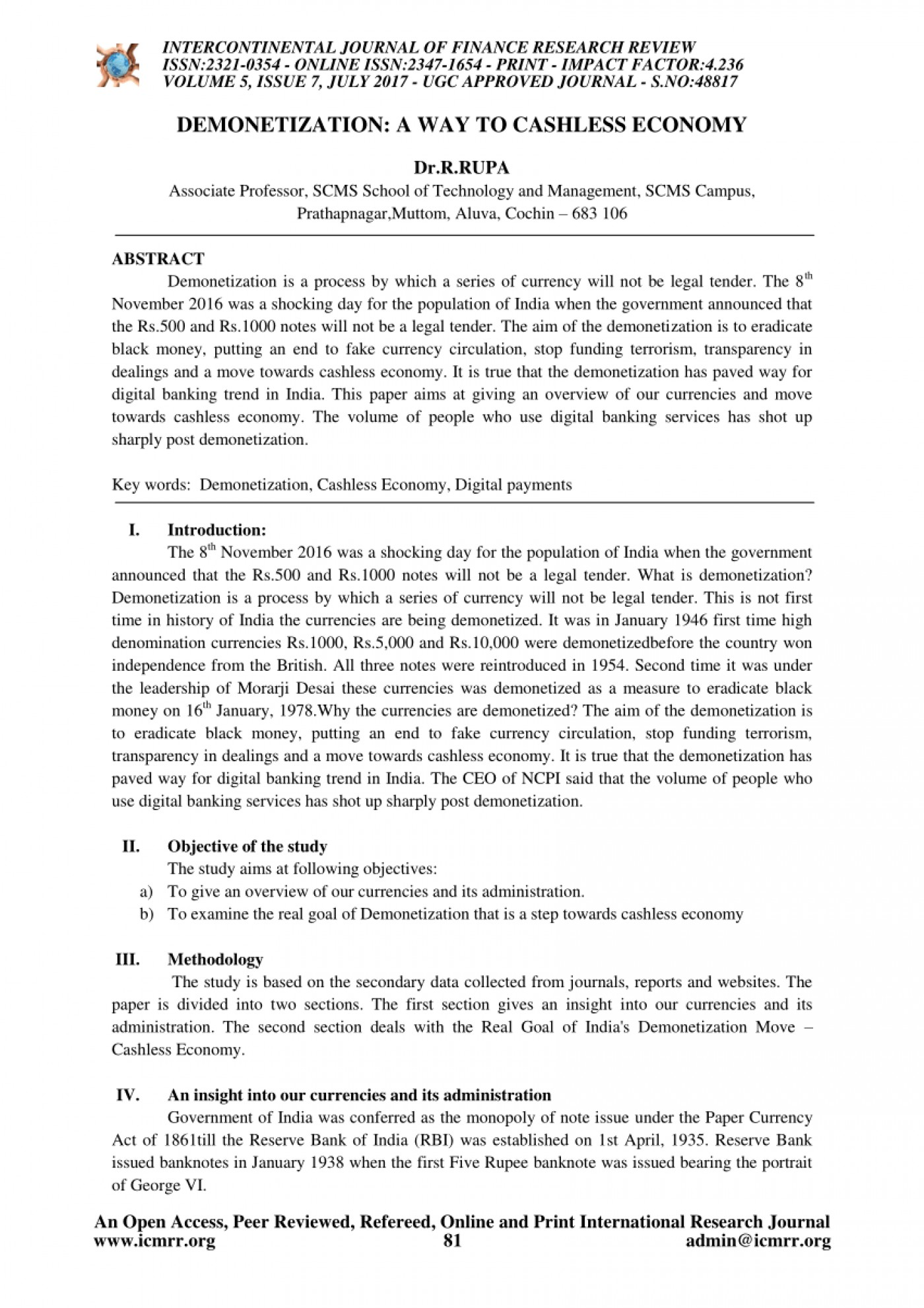 007 Cash To Cashless Economy Research Paper Rare 1400