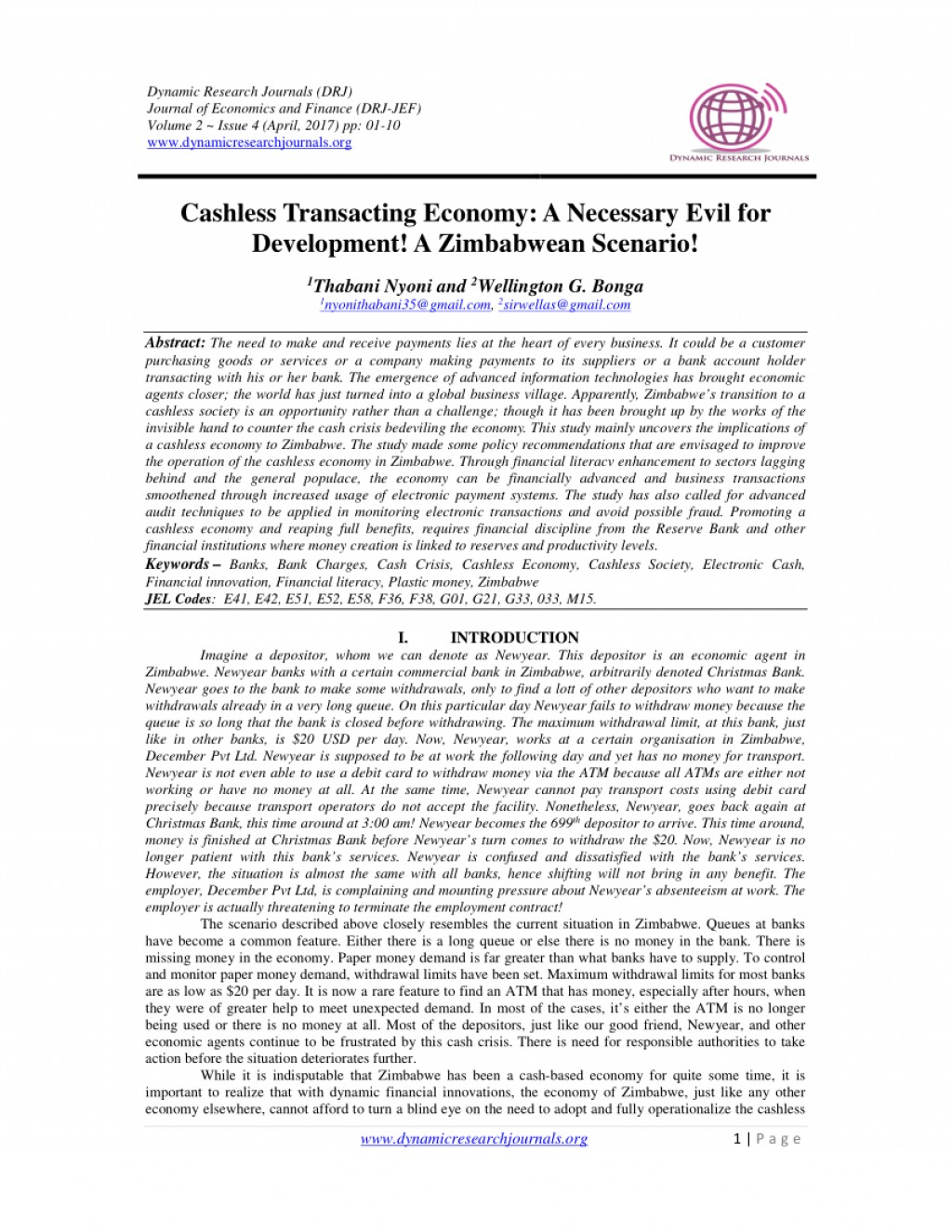 007 Cashless Economy Research Paper Frightening Papers Pdf Cash To Large