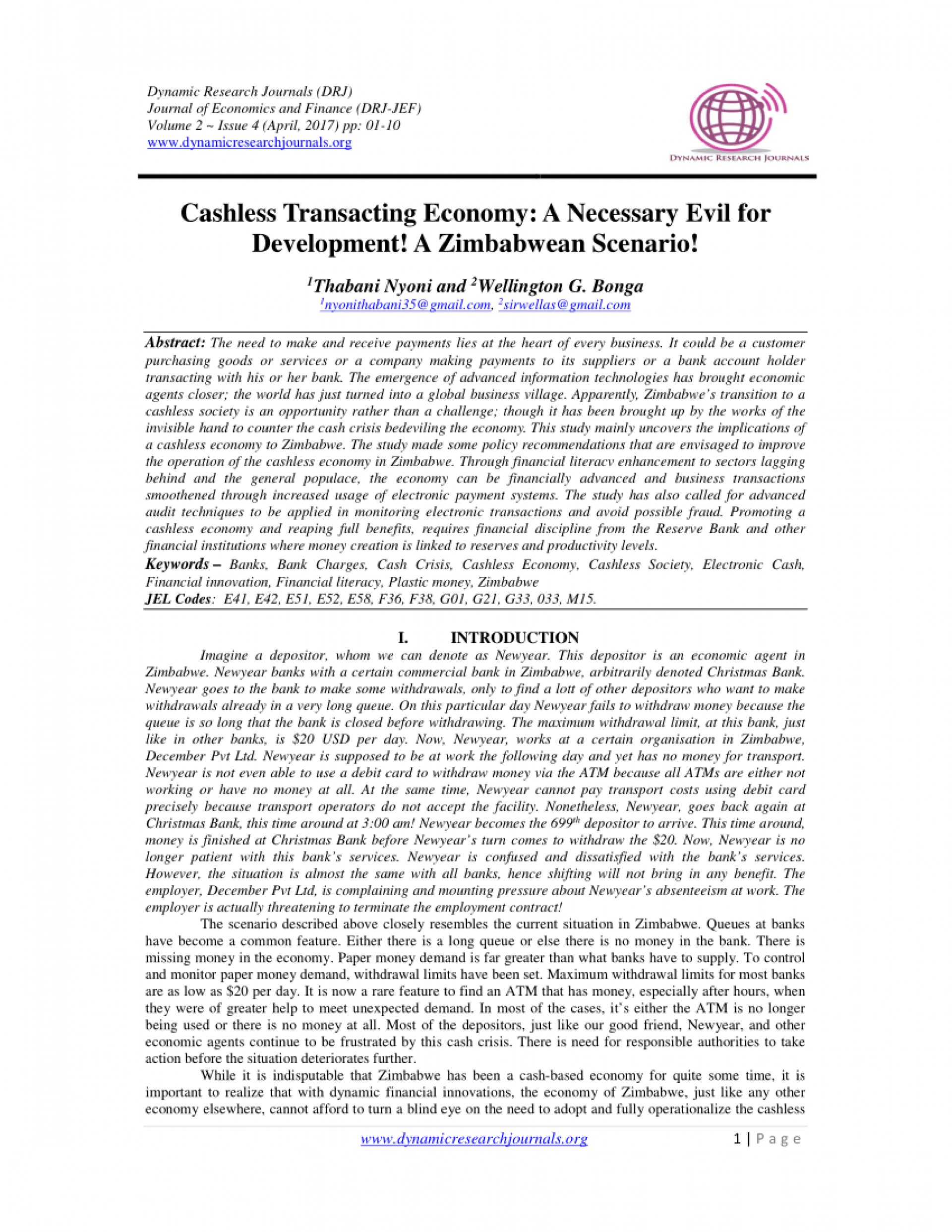 007 Cashless Economy Research Paper Frightening Papers Pdf Cash To 1920