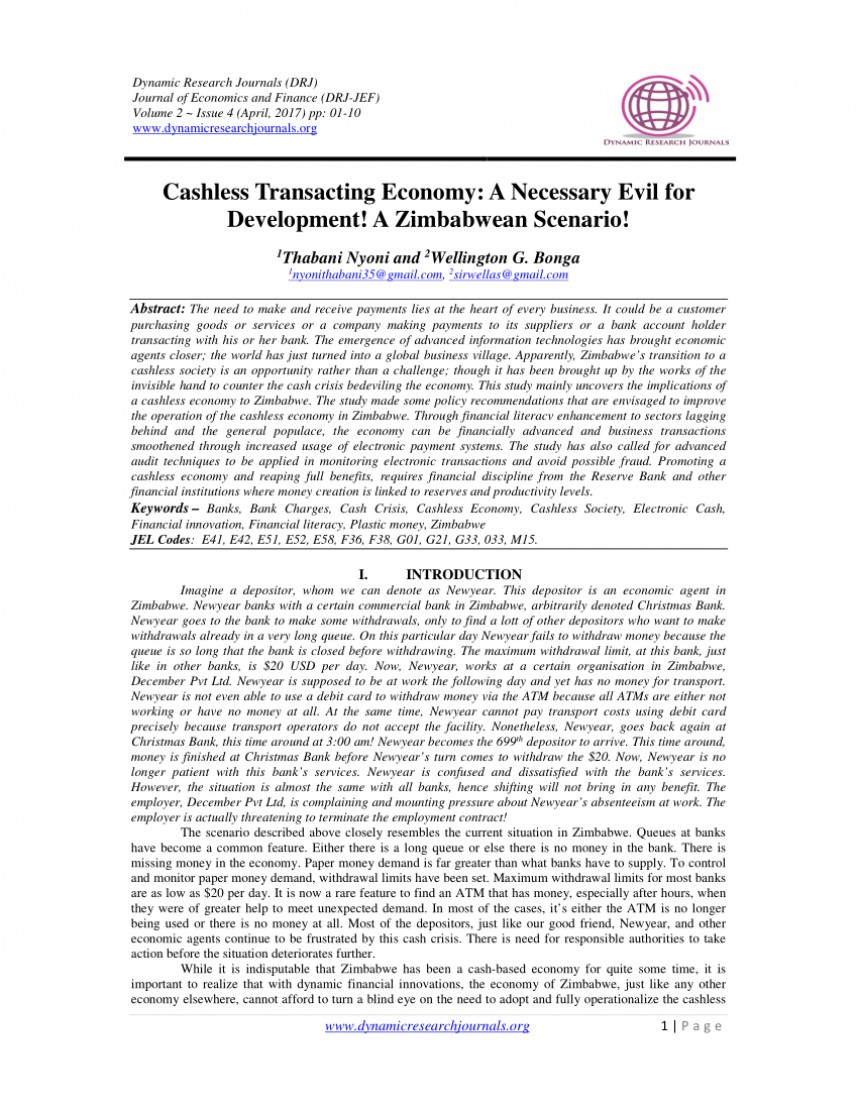 007 Cashless Economy Research Paper Frightening Cash To Papers Pdf