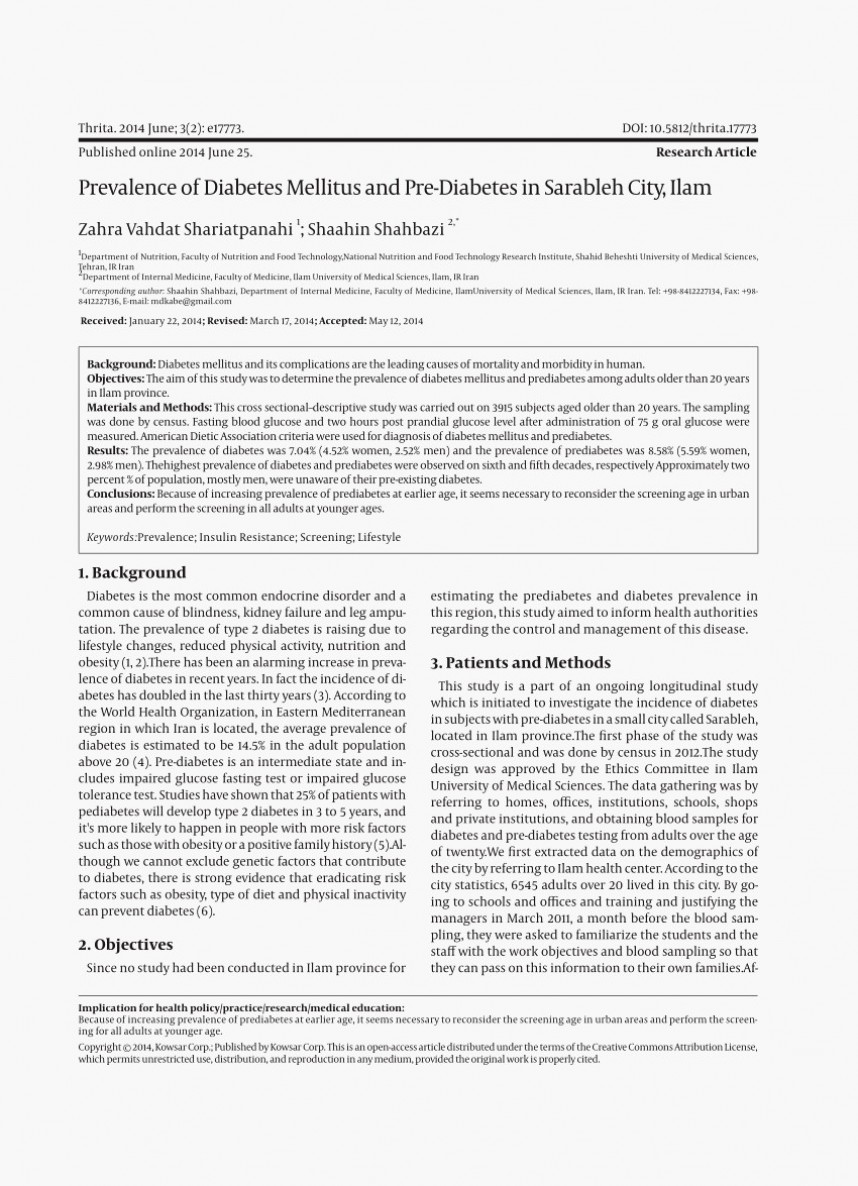 007 Chicago Style Research Paper Elegant Sample Diabetes About Pdf Iran Of Top Papers Mellitus