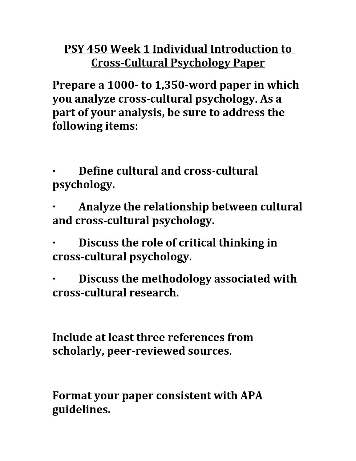 007 Cultural Psychology Topics For Research Paper Page 1 Sensational Full