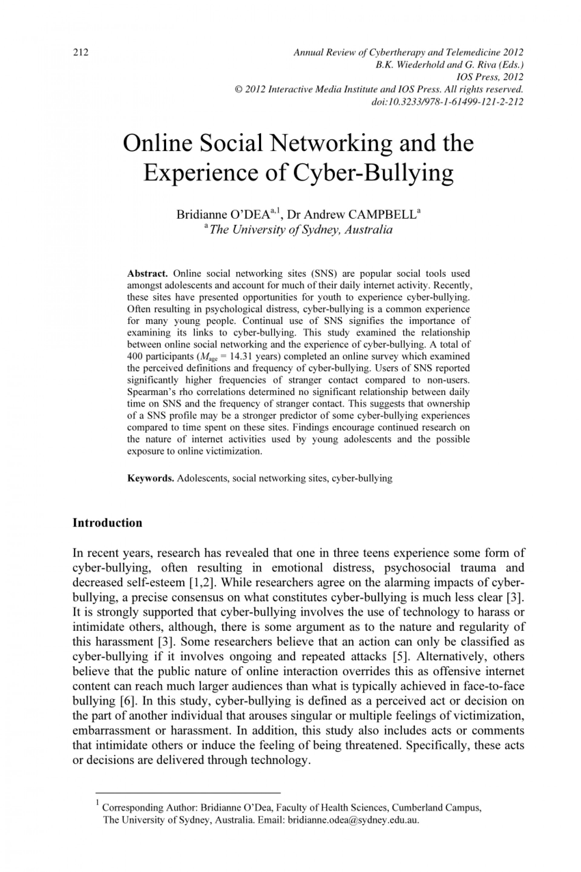 007 Cyberbullying Research Paper Abstract Phenomenal 1920