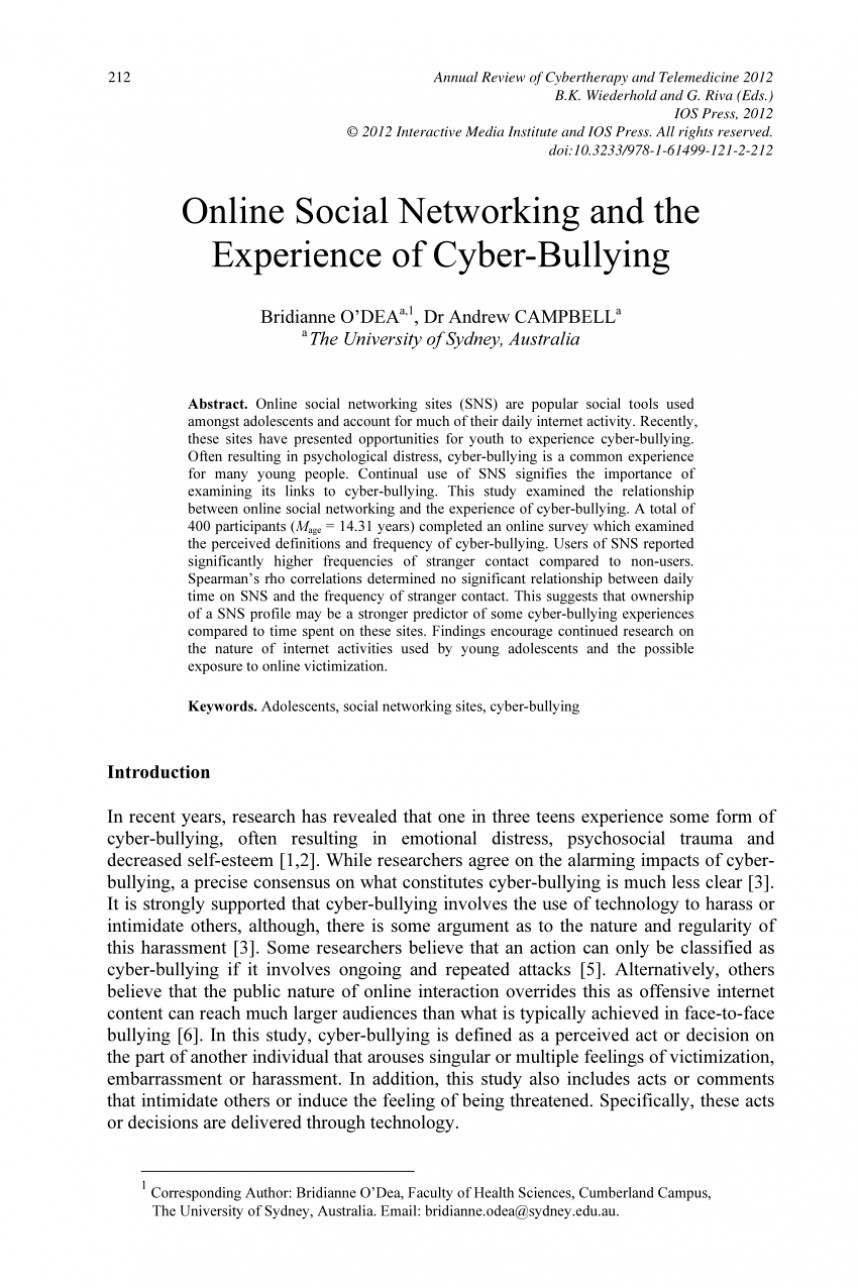 007 Cyberbullying Research Paper Abstract Phenomenal