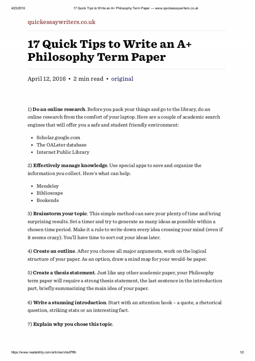 007 How To Write An Introduction For Research Paper Slideshare 17quicktipstowriteanaphilosophytermpaperwww Thumbnail Astounding A Large