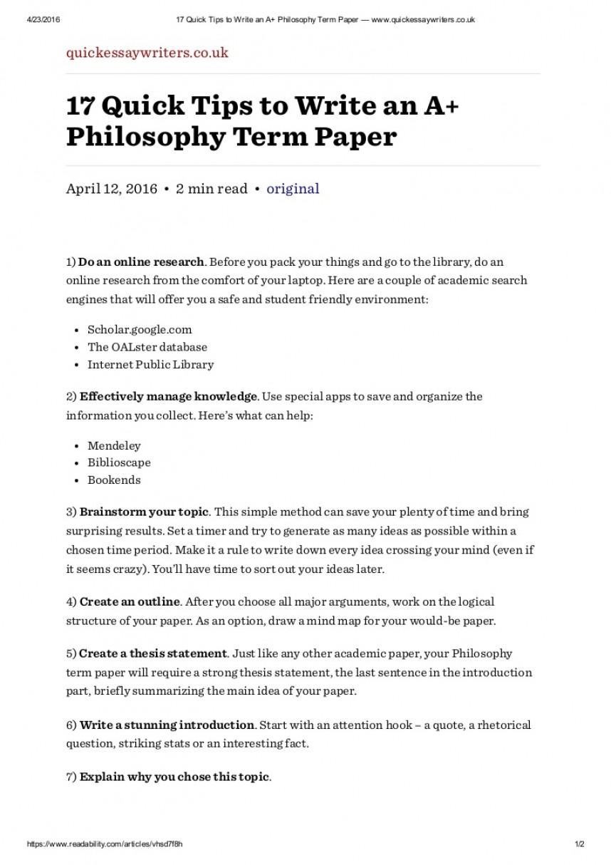 007 How To Write An Introduction For Research Paper Slideshare 17quicktipstowriteanaphilosophytermpaperwww Thumbnail Astounding A