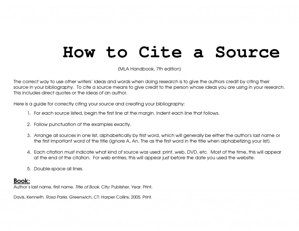 007 Mla How To Cite Source In Research Paper Unbelievable A Format Large