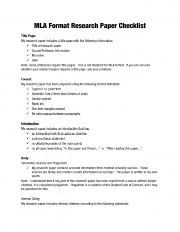 007 Mla Research Paper Imposing Rubric College 360