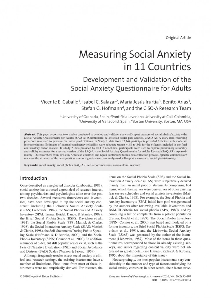 007 Psychology Research Paper On Social Anxiety Disorder Staggering 728