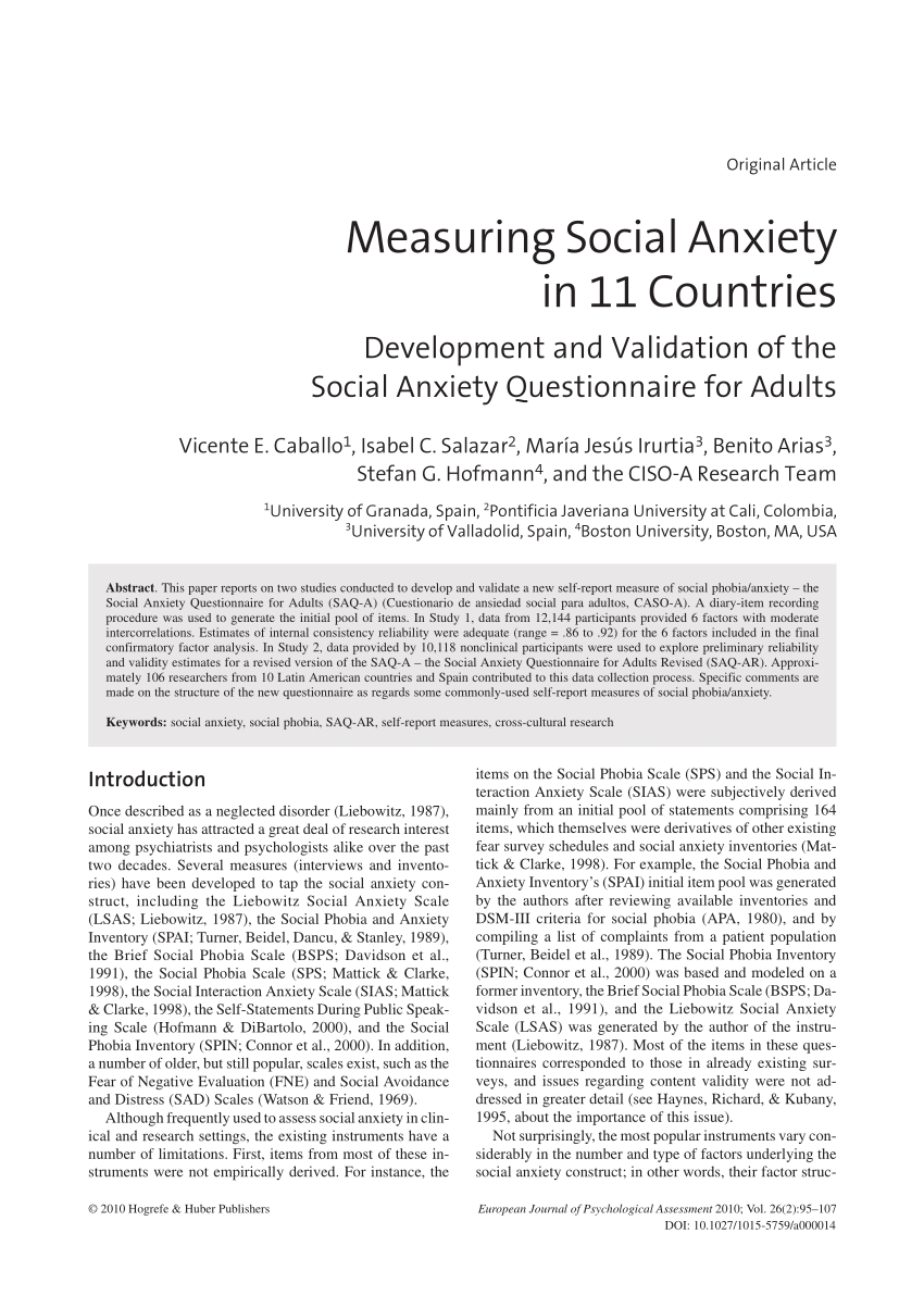 007 Psychology Research Paper On Social Anxiety Disorder Staggering