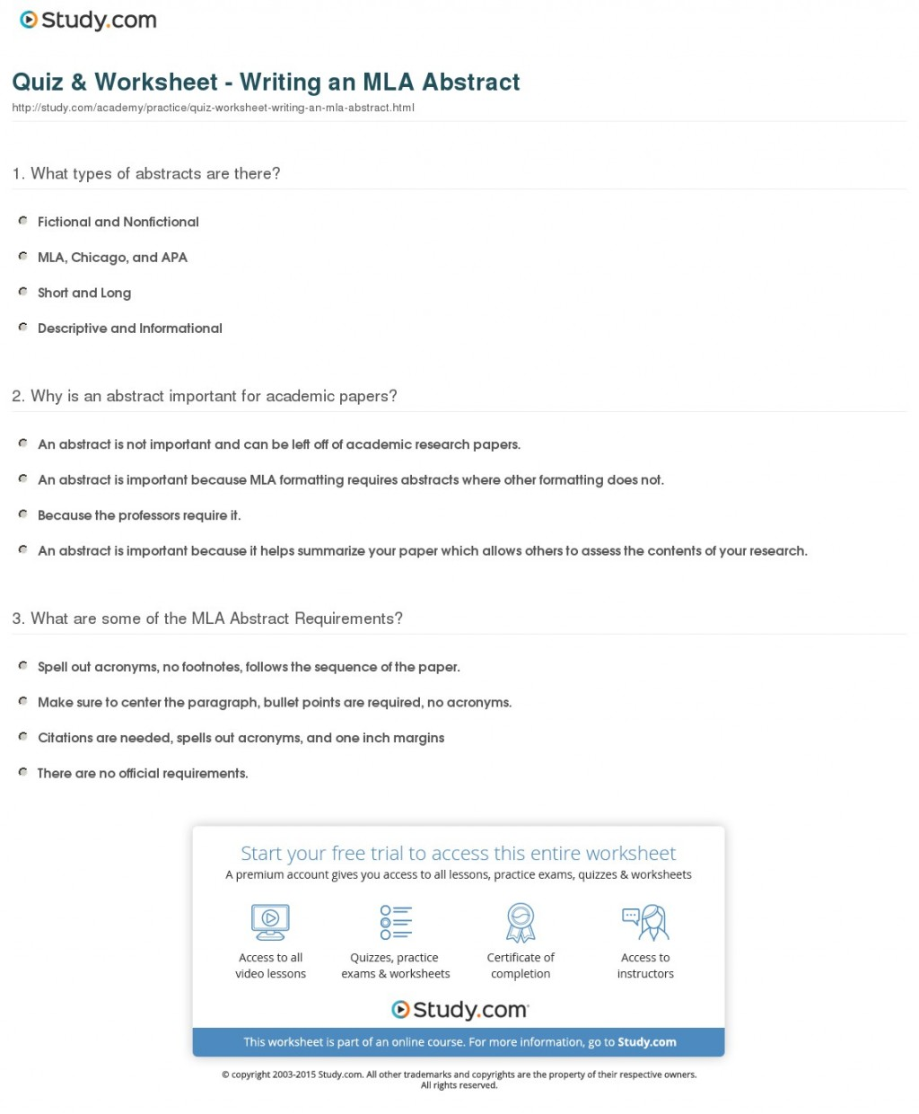 007 Quiz Worksheet Writing An Mla Abstract For Research Awesome Paper Example Large