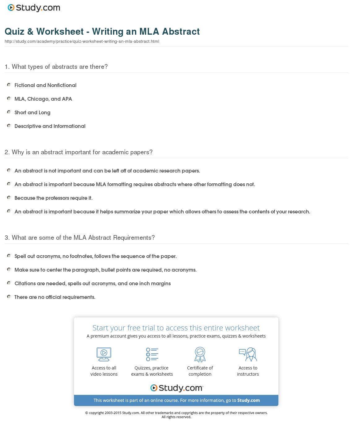 007 Quiz Worksheet Writing An Mla Abstract For Research Awesome Paper Example Full