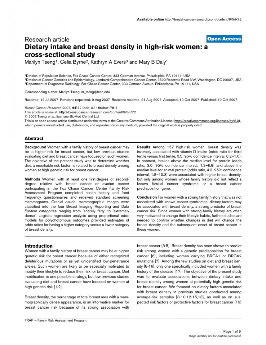 007 Research Paper Breast Cancer Gene Dreaded Papers