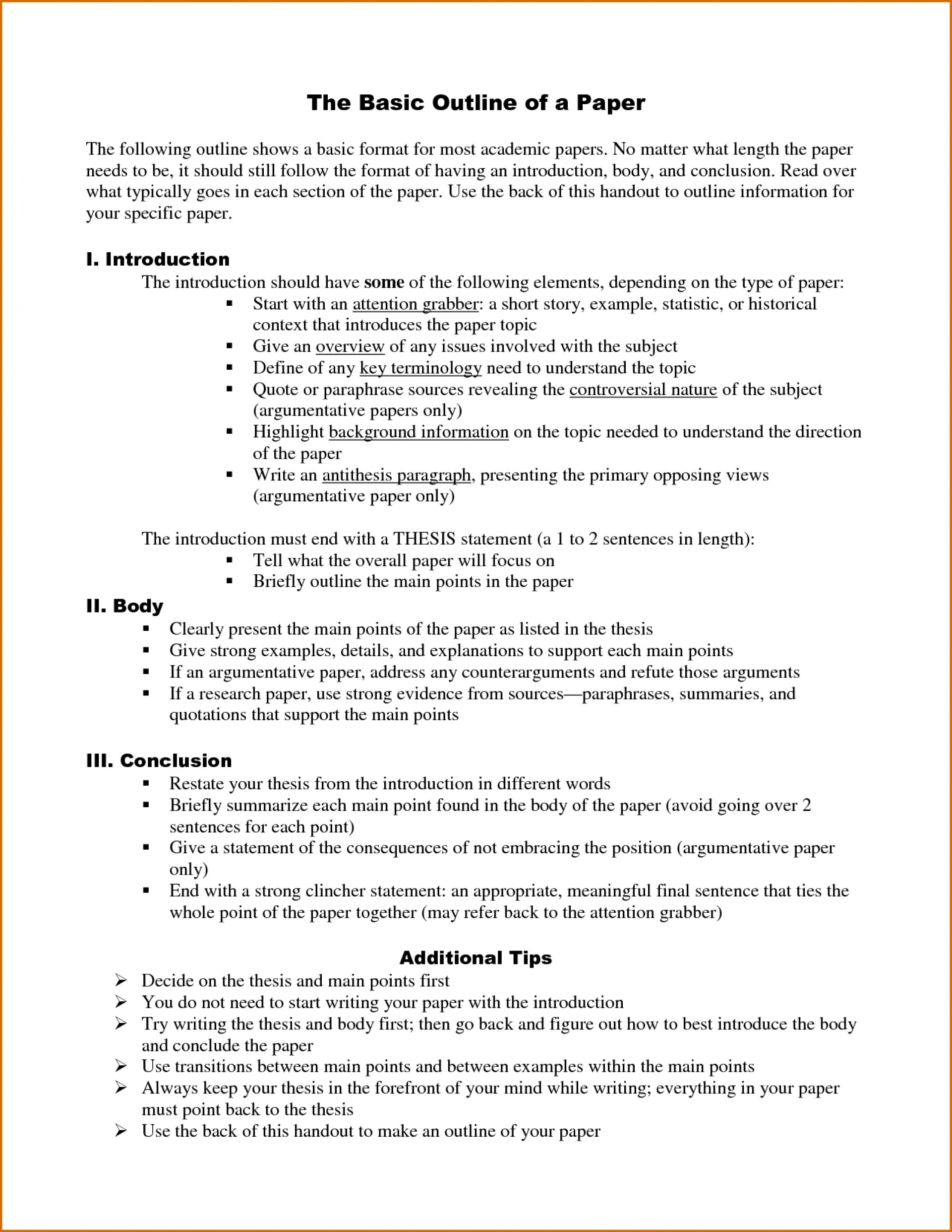 007 Research Paper Example Of Good Outline Template Word Unique A Apa Format History 1920