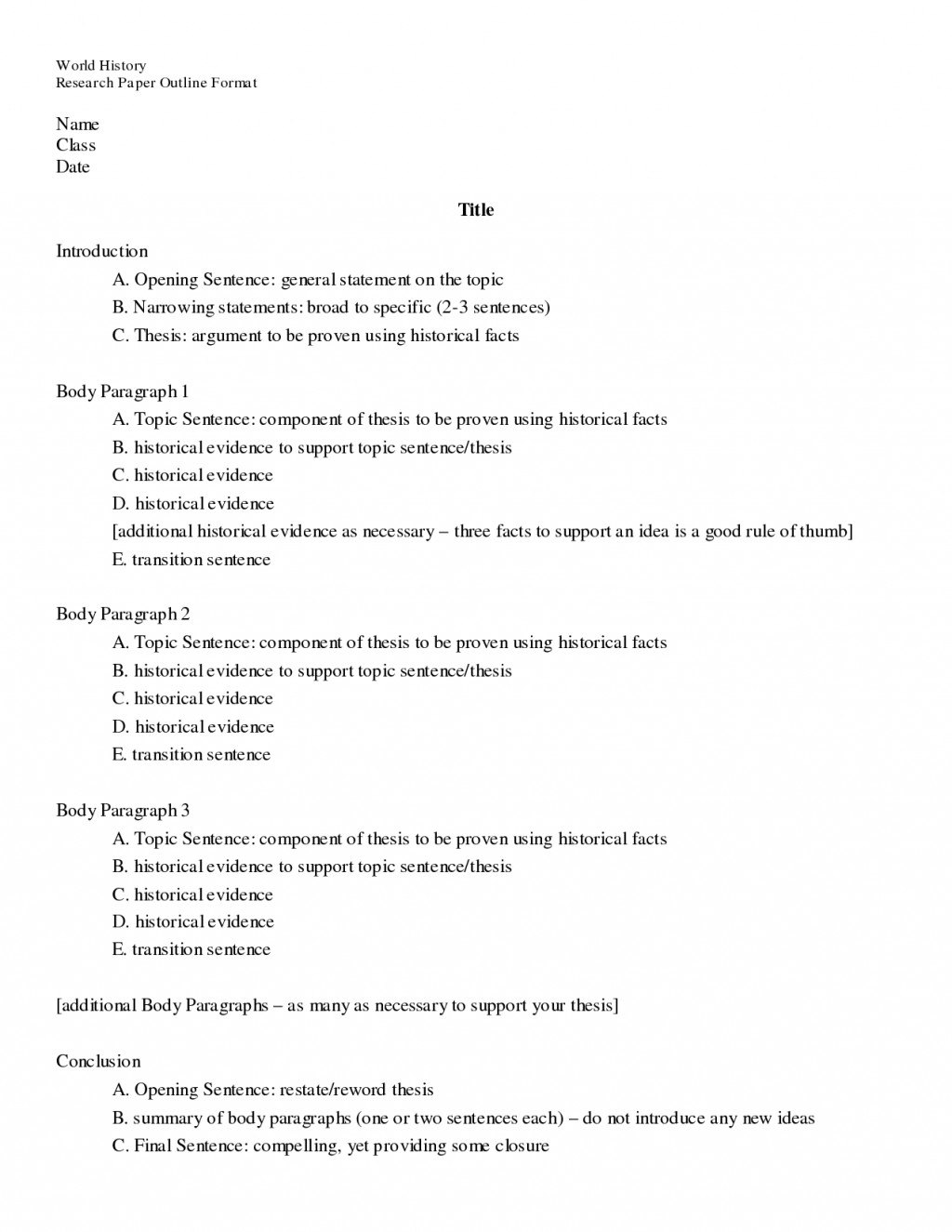 007 Research Paper Example Of Topic Outline Awesome Large