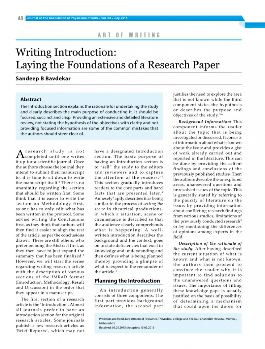 007 Research Paper Introductions To Papers Example Sensational
