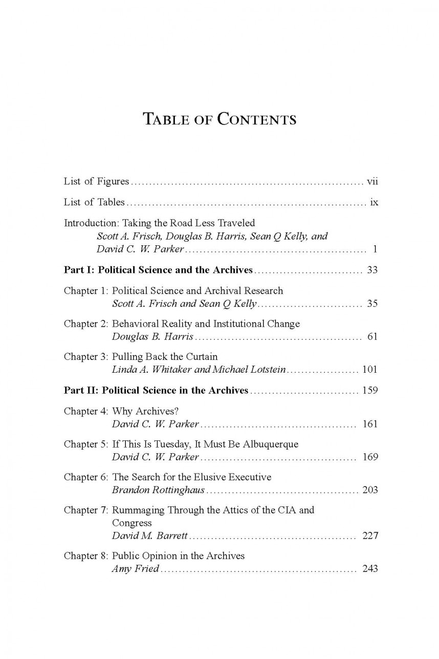 007 Research Paper Table Of Contents Darps Page Fascinating Apa Style Template